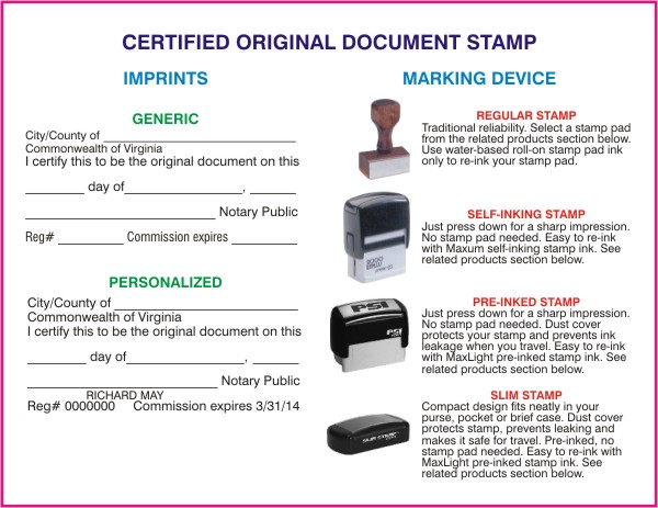 Certified Original Document Stamp